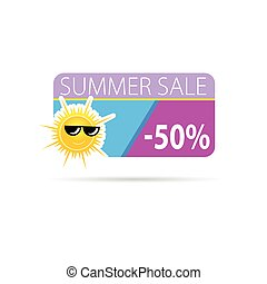 zon, met, zomer, verkoop, vector