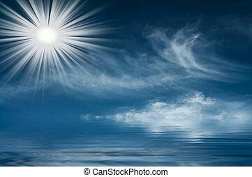 zon, mooi en gracieus, zacht, boven, sea.