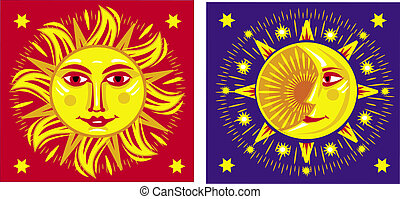 zon, moon., vector, illustratie