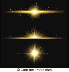 zon ontsteken, effect, geel flakkerend licht