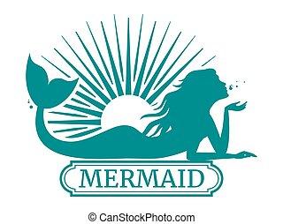 zon, ontwerp, silhouette, mermaid, etiket