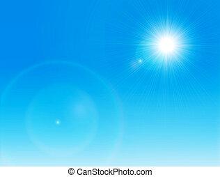 zon, op, een, duidelijke lucht