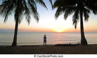 zon, op, scène, opstand, zee, tranquil