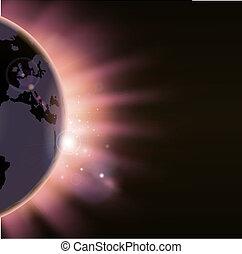 zon, op, stralen, globe, barsten