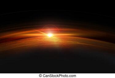 zon, opstand, aarde, ruimte