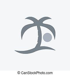 zon, palm, zee, pictogram