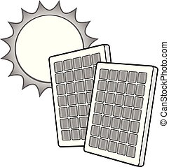 zon, panelen, zonne, illustratie