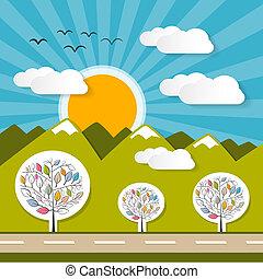 zon, papier, blauwe bergen, hemel, illustratie, wolken, natuur
