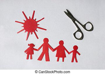 zon, papier, gezin