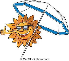 zon, paraplu, spotprent, karakter