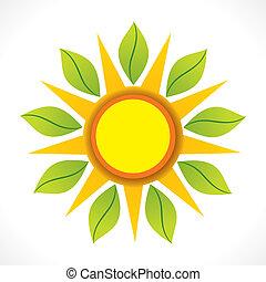 zon, pictogram, blad, groene, creatief