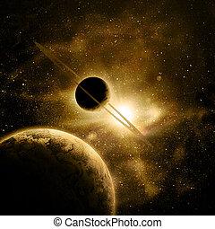 zon, planeet, tegen, ruimte