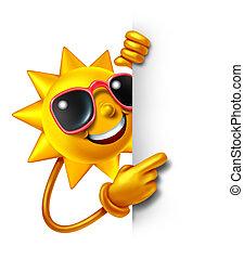 zon, plezier, met, leeg teken