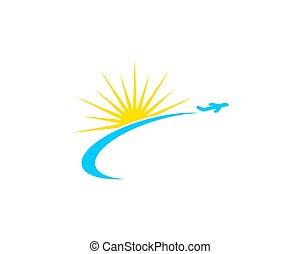 zon, reizen, ontwerp, mal, logo