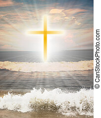 zon, religieus, glanzen, kruis, tegen, symbool, christen