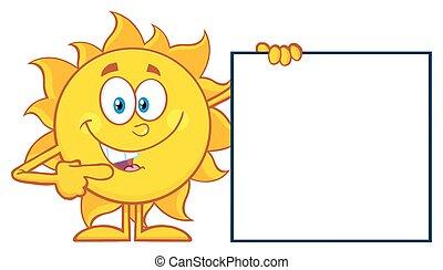 zon, richtend aan, een, leeg teken