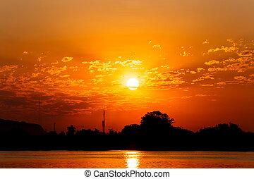 zon, river., rijzen, morgen