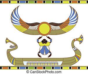 zon, scheepje, egyptisch