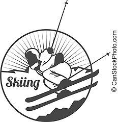 zon, silhouettes, exploratie, ski, emblems, wildernis, stangen, elements., buiten, vector, ouderwetse , natuur, bergen