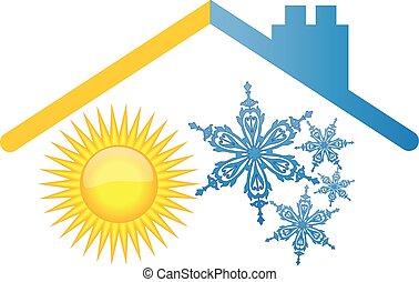 zon, sneeuw, dak