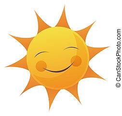 zon, spotprent, gezicht