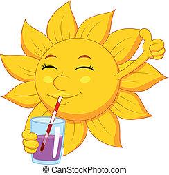zon, spotprent, karakter, drinkt