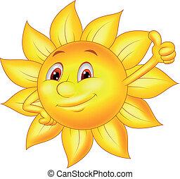 zon, spotprent, karakter, duim boven