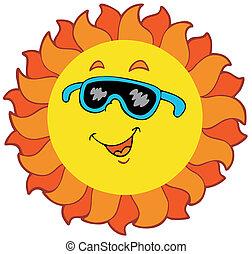 zon, spotprent, vrolijke