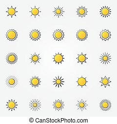 zon stel, glanzend, iconen