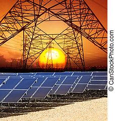 zon stel, met, structuur, van, hoogspanning, stroom, toren,...