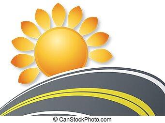 zon, straat, logo