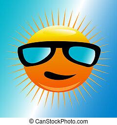 zon, strand, zonnebrillen