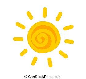 zon, symbool, hand, getrokken