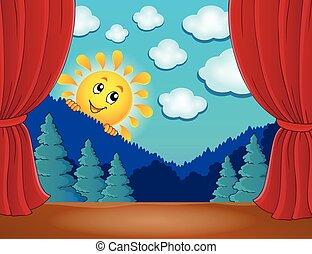 zon, toneel, 4, vrolijke