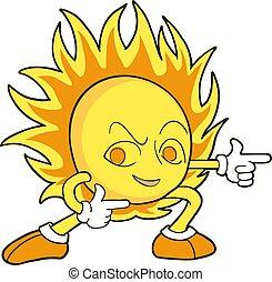 zon, trekken, aardig, koel