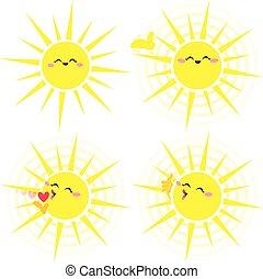 zon, troep, het glanzen, gele, vrolijke