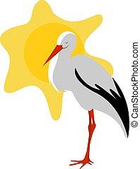 zon, vector, achtergrond., illustratie, ooievaar, witte