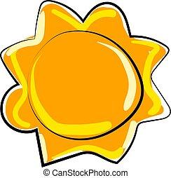 zon, vector, achtergrond., illustratie, witte