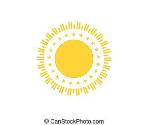 zon, vector, illustratie, mal, logo