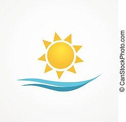 zon, vector, illustratie, zonopkomst
