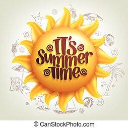 zon, vector, met, zomertijd, titel