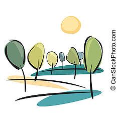 zon, vector, park, bomen, aanzicht