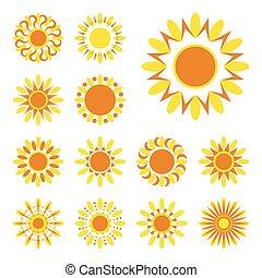 zon, vector, set, iconen