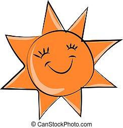 zon, vector, vrolijke , achtergrond., illustratie, witte
