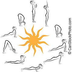 zon, vector, yoga, begroeting