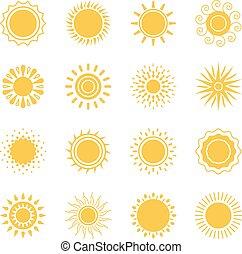 zon, verzameling, iconen