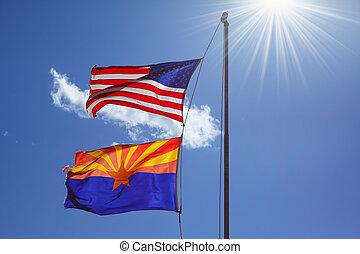 zon, vlaggen, tegen, het glanzen