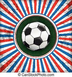 zon, voetbal, dekking, frankrijk, retro, gat