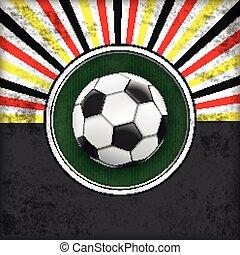 zon, voetbal, dekking, groene, retro, duitsland, gat