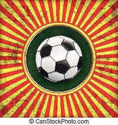 zon, voetbal, dekking, retro, gat, spanje